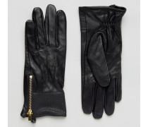 Lederhandschuhe mit Aufnäher Schwarz