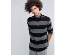 Hemd mit auffälligem Streifenmuster und Flanellrücken Schwarz