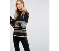 Hochgeschlossener Pullover mit Streifen Mehrfarbig