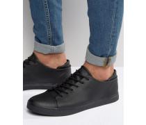 Schwarze Sneaker zum Schnüren mit Zehenkappe Schwarz