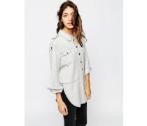 Hochwertiges Jeanshemd in verwaschenem Grau Schwarz