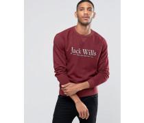 """Sweatshirt mit """"""""-Print und Raglanärmeln in Damson Rot"""