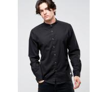 Schmales Grandad-Hemd mit kontrastierenden Krempelärmeln Schwarz