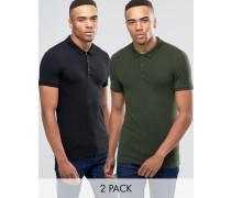 Muskel-Poloshirts im 2er-Pack, 10% Rabatt, in Schwarz/Grün Mehrfarbig