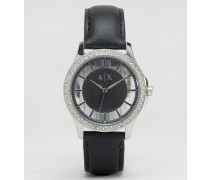 Edle Leder-Armbanduhr, AX5253 Schwarz