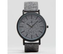 Armbanduhr aus Filz in Anthrazit Grau