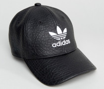 Kappe aus schwarzem Kunstleder mit Trefoil, BK6967 Schwarz