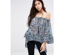 Schulterfreies Oberteil mit Blumenmuster Blau