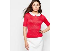 Pullover mit 3/4-Ärmeln und Kontrastkragen Rosa