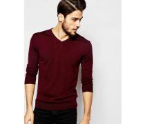 Strickpullover aus 100% Merino-Wolle mit V-Ausschnitt Rot