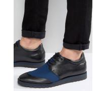 Schwarze Leder-Derbyschuhe mit marineblauem Netzstoff Schwarz