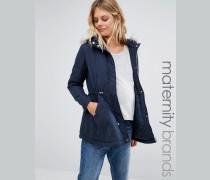 New Look Mode für Schwangere Parka mit Kapuze aus Kunstfell Blau