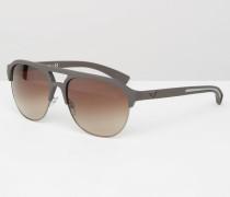 Pilotensonnenbrille mit flachem Steg Braun