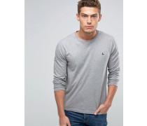 T-Shirt mit langem Arm und Logo in Kalkgrau Grau