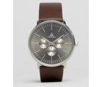 Uhr mit braunem Armband aus Leder Braun