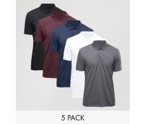 5er Pack Polohemden in Weiß/Schwarz/Anthrazit meliert/Blutrot/Marine, RABATT Mehrfarbig