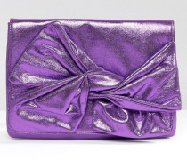 Weiche Clutch in Metallic-Optik mit Schleife Violett