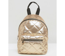Gesteppter Mini-Rucksack in Metallic Gold
