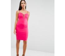 Figurbetontes Kleid mit tiefem Ausschnitt vorne Rosa