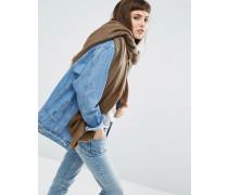 Oversized-Schal mit hellem Sparrenmuster Grün