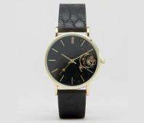 Armbanduhr mit Mond- und Sternendetails auf dem Zifferblatt Schwarz
