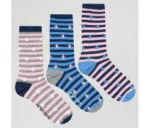 Socken mit Muster im 3er-Pack Marineblau