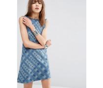 Jeans-Etuikleid mit Batik-Print Mehrfarbig