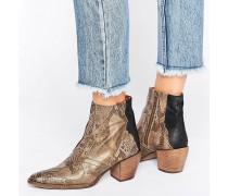 Nevada Thunder Ankle-Boots in brauner Schlangenlederoptik, im Western-Stil Braun