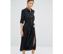 Closet Lang geschnittenes Hemdkleid mit Gürtel Schwarz