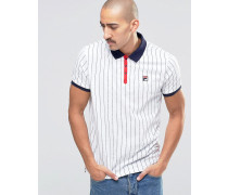 Fila Gestreiftes Vintage-Polohemd Weiß