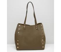 Shopper-Tasche mit Nieten Grün