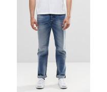 Buster 853P Gerade geschnittene Jeans in mittlerer Waschung Blau