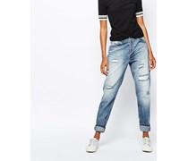 Girlfriend-Jeans im Used-Look Blau