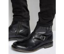 Zinkfarbene Biker-Stiefel aus Leder Schwarz