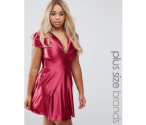 Plus Pam Skaterkleid aus Satin Rot