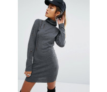 Hochgeschlossenes Minikleid mit Abnutzung und Logo Schwarz