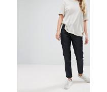 Girlfriend-Jeans aus unbearbeitetem Denim Blau
