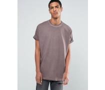 Super Oversize-T-Shirt in Mink Pigment-Waschung mit gerollten Ärmeln Violett