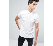 Polohemd mit Brusttasche Weiß