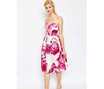 Mittellanges, trägerloses Ballkleid mit Blumenmuster in Hellrosa Mehrfarbig