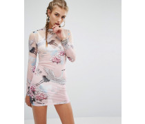 Figurbetontes, hochgeschnittenes, transparentes Minikleid mit Magic-Print Rosa