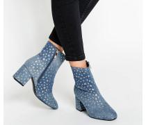 Ankle Boots aus Jeans mit Absatz und Sternenmuster Blau