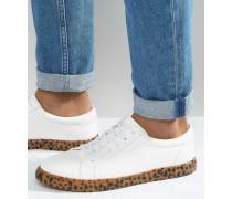 Weiße Sneaker mit Sohle in Leopardenmuster Weiß