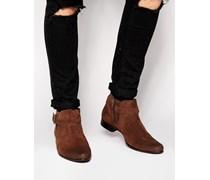 Chelsea Stiefel aus braunem Wildleder mit Schnalle Braun