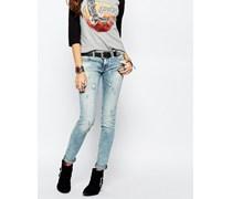 Ruskin Enge Jeans mit Bleich-Effekt Blau