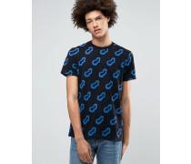 Alan Schwarzes T-Shirt mit Print Schwarz