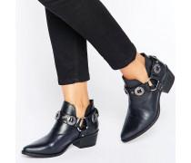 Aces Ankle-Boots aus Leder mit Absatz und D-Ring Schwarz