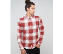 Schmales Flanellhemd mit großen Karos in Rotweiß Rot