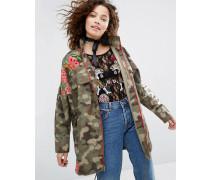 Jacke mit Military-Muster und Blumen-Stickerei Grün