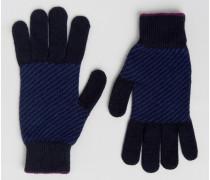 Handschuhe mit Fischgrätmuster Blau
